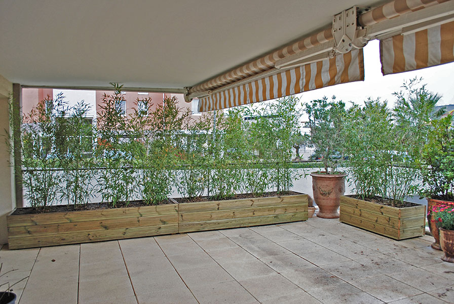Am nagement terrasse balcon jardinier paysagiste s te for Jardin rectangulaire amenagement